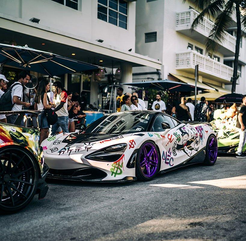 , Alec Monopoly Spray Paints an Exotic McLaren 720S During Art Basel Miami Beach
