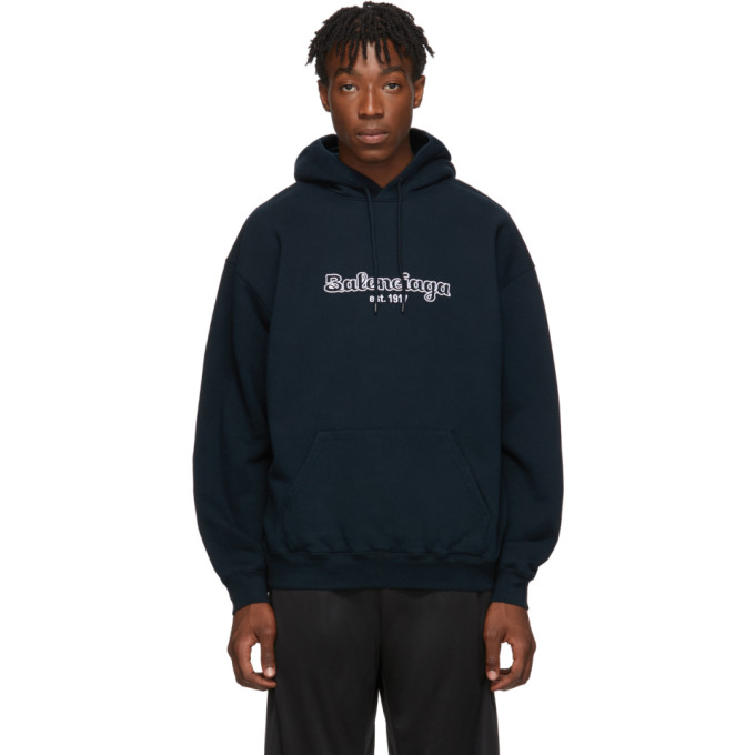 Balenciaga Navy Est. 1917 Back Pulled Hoodie