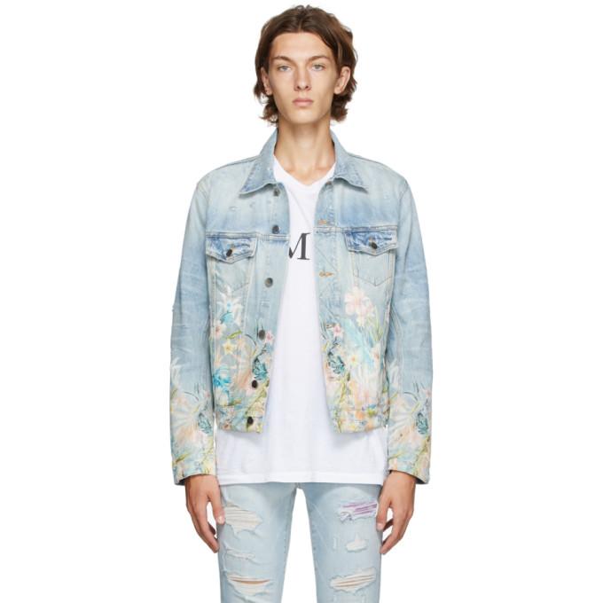 Amiri Blue Denim Floral Leaf Trucker Jacket