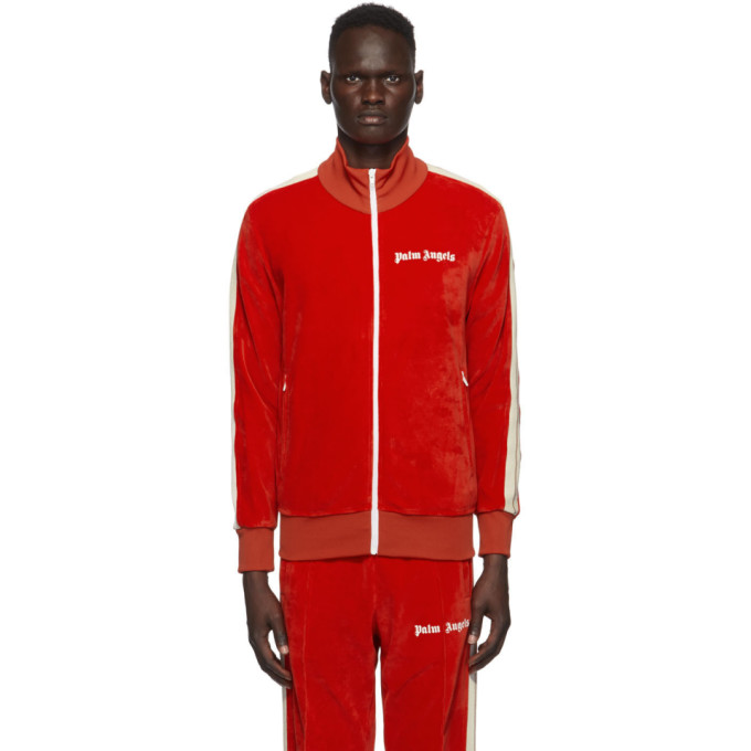 Palm Angels Red Chenille Track Jacket